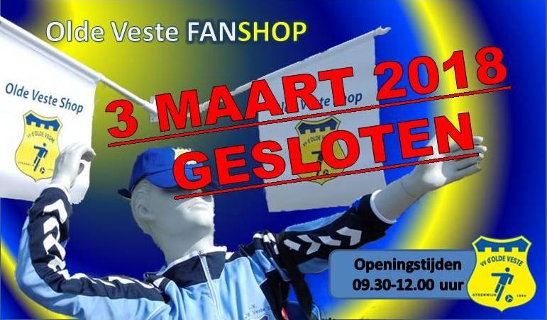 a.s. Zaterdag is de Olde Veste FANSHOP gesloten !