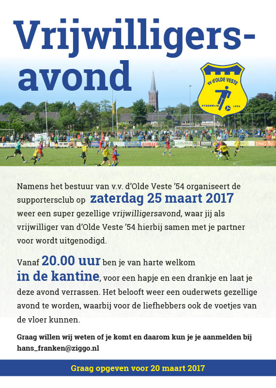 Vrijwilligersavond 25 maart 2017